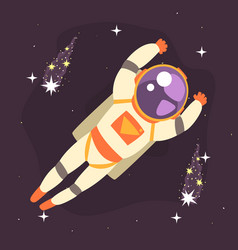 cosmonaut floating in outer space vector image