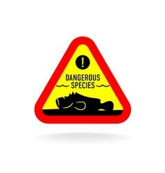 Dangerous species warning sign Stonefish vector image