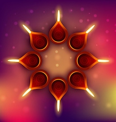 Diwali diya on colorful background vector