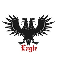 Double headed black heraldic eagle icon vector