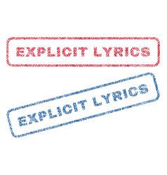 Explicit lyrics textile stamps vector