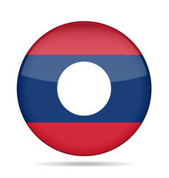 flag of laos shiny round button vector image vector image