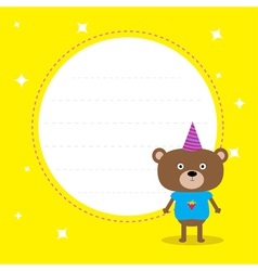 Frame with cute cartoon bear with hat Birthday vector image vector image