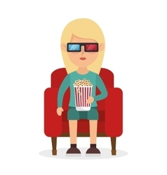 Girl sitting couch pop corn and 3d film vector