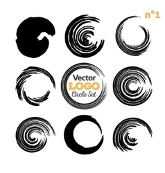 Grunge circle brush strokes set Hand made vector image vector image