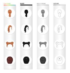 Hair longchignon and other web icon in cartoon vector