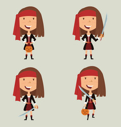 Halloween pirate girl vector