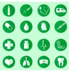 Hospital and medical icons set in circle eps10 vector