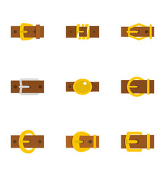 Metal belt buckle icon set flat style vector