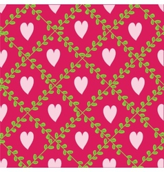 Pattern with floral elements and hearts vector image