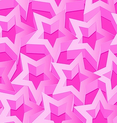 Pink 3d stars seamless patter on pink vector