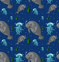 Seamless background with manatee underwater vector