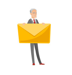 Senior caucasian businessman holding big envelope vector