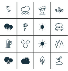 Set of 16 ecology icons includes cold climate vector