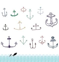 Ship anchor doodles vector