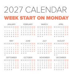 simple 2027 year calendar vector image vector image