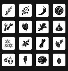 Spice icons set squares vector