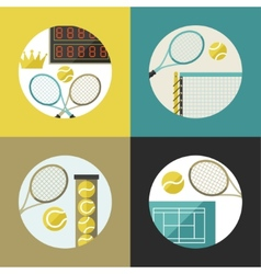Sports backgrounds with tennis icons in flat vector image