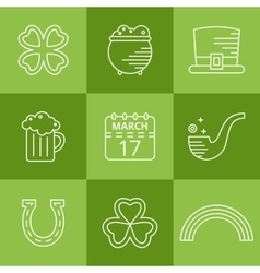 St patricks day linear icons set vector