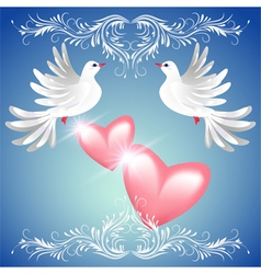 Two dove on blue background with pink hearts vector