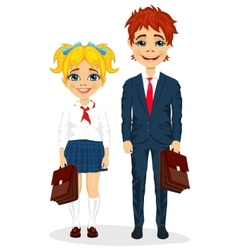 Young brother and sister with suitcases vector