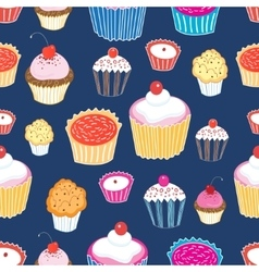 Pattern color delicious cakes vector