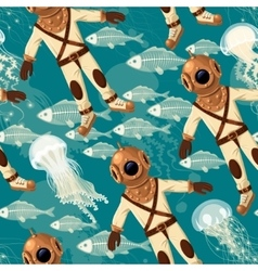 Diver fish and jellyfish seamless vector image