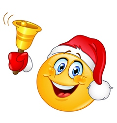 Christmas emoticon with bell vector