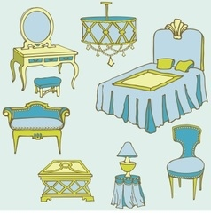 Furniture second bed color blue vector