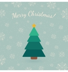 Christmas tree on winter backdrop vector