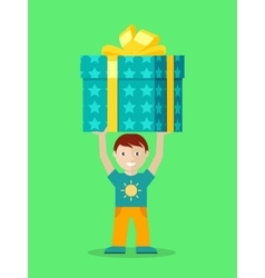 Happy child with presents flat vector