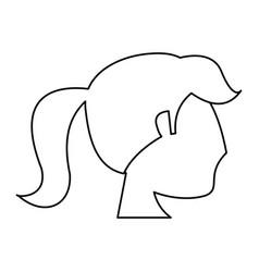 Portrait woman bride outline vector