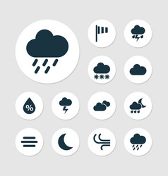 Climate icons set collection of moon moisture vector