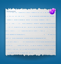 Notepaper on a blue background vector