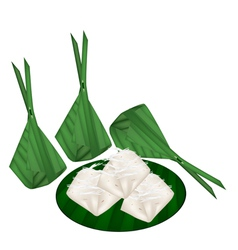 Thai banana pudding in counts banana leaf vector