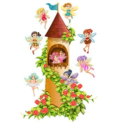 Fairies and tower vector