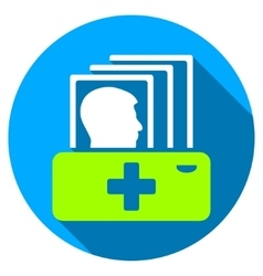 Patient catalog flat round icon with long shadow vector