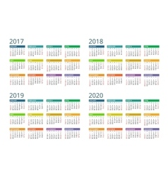 Calendar for 2017 2018 2019 2020 week starts vector