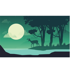Beauty scenery at night with deer on the riverbank vector