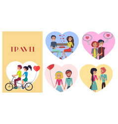 Beloved female with sweetheart male travel card vector