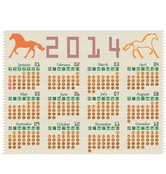 Calendar 2014 on a brick wall vector image