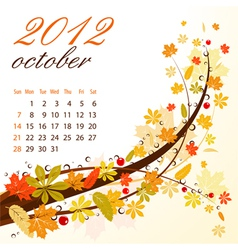 calendar for 2012 october vector image