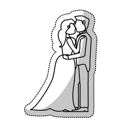 Couple embrace wedding romantic outline vector