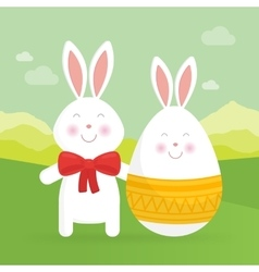 Cute Easter bunny and egg vector image vector image