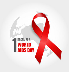 december 1 world aids day background red ribbon vector image
