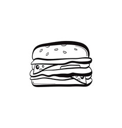 doodle burger icon vector image vector image