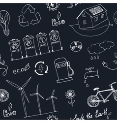 Ecology and recycle doodle seamless pattern vector image vector image