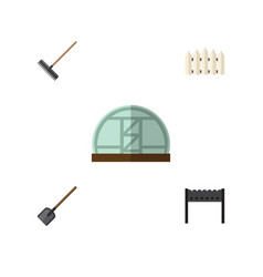 flat icon dacha set of harrow wooden barrier vector image vector image