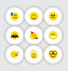 flat icon expression set of party time emoticon vector image vector image