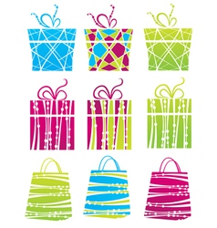 gift boxes and shopping bags vector image